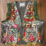 Men's 3xl Xxxl Lighted Lit Christmas Realtree Camo Hunting Vest Nwt Ugly Sweater