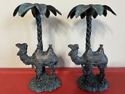 """2 Camel Candle Holders Under Palm Tree Nativity Decor Bronze Rustic Metal 11.5"""""""