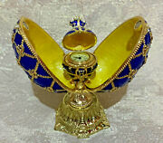 Faberge Egg Blue Double Egg W/ Clock. Made In Russia