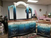 Custom Hand Painted Vintage Solid Wood Larger Dresser With Mirror And Small Chest