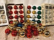 Antique / Vintage Lot Of 46 Glass Christmas Tree Ornaments Misc. Sizes, Holly Et