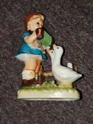 Vintage Erich Stauffer Figurine Playing The Accordion For Geese Ceramic Decor