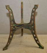 Antique Cast Iron Plant Holder Collectible Cut Out Green Paint Stand Vintage