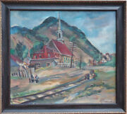 Quebec Canada Town Church By Railroad Antique Oil Painting By Marion Huse