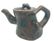 Vintage Chinese Yixing Zisha Ceramic Clay Tree Stump Teapot With Squirrel