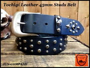 Studs Leather Belt Made In Japan Wide45mm Antique Gold Brass Buckle