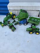 10 Piece Lot John Deere 4020 854 875 And Ford Tw-5 Diecast Toy Tractors