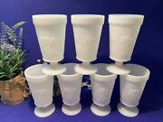 Milk Glass Footed Goblets,grapes And Leaves Pattern,set Of 7,5-5/8x3-1/8 Euc