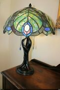 Vintage Style Lamp Stained Glass Flowers Peacock Green, Blue And Pink