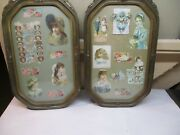 Antique Bubble Glass Frame With Antique Dye Cuts And Valentines