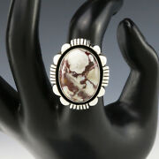 Native American Navajo Sterling Silver And Wild Horse Ring By Lonnie Willie