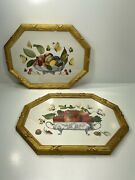 Pair Of 2 Chelsea House Gold Frame Vintage Art Prints Fruit And Butterflies.