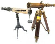 Set Of 2 Pcs 10 Antique Brass Telescope With Wooden Tripod Stand Nautical Desk
