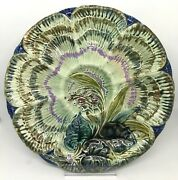 Georgous Rare Old Wasmuel Oyster Plate Majolica Lily Of The Valley Circa 1890