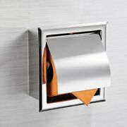 Stainless Steel Toilet Paper Holder Chrome Wall Mounted Concealed Tissue Box 1pc