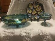 Indiana Blue Carnival Glass Candy Dish, Serving Bowl And Painted Flower Plate