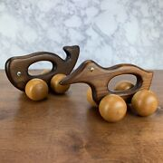 Vintage Wooden Duck And Whale Toy With Big Wheels Pull Toy Back Massager