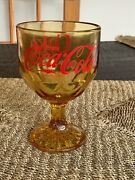 Vintage Enjoy Coca-cola Coke Goblet Amber Yellow Glass With Red Lettering