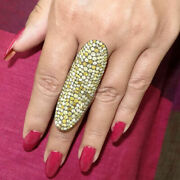 Color Diamond Pave Sterling Silver Finger Armor Ring Vintage Look Jewelry Se