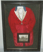 Stunning Framed 1940s Antique Vintage Red Wool Fox Hunting Riding Jacket