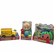 Cocomelon Jj Bedtime Roto Plush Doll Musical Doctor Kit And Musical School Bus