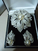 Jomaz Joseph Mazer 1950s Spectacular Huge Crystal Pearl Flower Brooch Earrings