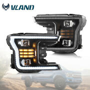Pair Upgraded Black Full Led Headlights Sequential Turn Signal For 2018-20 F-150