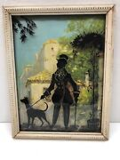 Vintage Antique Silhouette Reverse Painting Convex Glass Picture Of Man And Dog