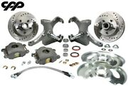 71-72 Chevy C10 Gmc Truck 12 Drilled Disc Brake 5 Lug Kit W/ 2.5 Drop Spindle