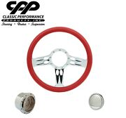 Cpp Continental Chrome Billet 14 Steering Wheel Red Leather 1/2 Wrap Hub Horn