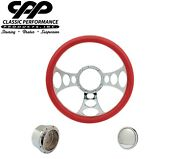 New Cpp Bandit Chrome Billet 14 Steering Wheel Red Leather 1/2 Wrap Hub Horn