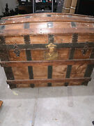 Antique Steamer Trunk Vintage Victorian Wooden And Medal Dome Top Chest Mm Secor