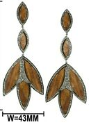 Natural Diamonds 925 Sterling Silver Wood Earrings 925 Sterling Silver Jewelry