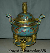 20 Marked Chinese Royal Palace Bronze Cloisonne Two Dragon Lion Incense Burner