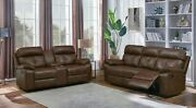 Tri-tone Brown Leatherette Reclining Sofa And Loveseat Living Room Furniture Set