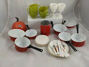 Tin Metal Pots Pans And Plastic Dishes Utensils Toy Vintage