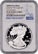 End Of Wwii 75th Anniversary 2020 American Silver Eagle V75 Ngc Pf69 Ultra Cameo