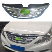 For 2011-14 Hyundai Sonata Front Center Mesh Grille Grill Cover Trim Abs Chrome