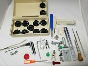 Vintage Montgomery Ward Sewing Machine Accessories Box Stitch Cams Needles Tools