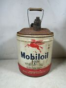 Vintage Socony Mobiloil Mobil Oil Pegasus 5 Gallon Can 1950and039s-60and039s