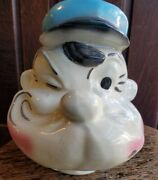 Vintage 1950s American Bisque Popeye Sailor Ceramic Piggy Bank - Blue And White
