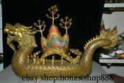 24 Old Chinese Royal Palace Cloisonne Bronze Gild Feng Shui Dragon Boat Statue