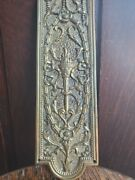 Antique Ornate Brass Bronze Door Push Plate Floral Torch Ribbons Bows Filigree