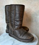Classic Tall Bomber 5804 Ugg Boots Size 7, Used, Dark Brown, Leather Shearling