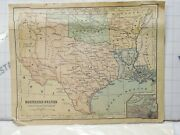 Antique Rare Book Page Southern States Western Division Texas Oklahoma Map 12