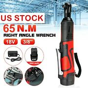 18v 3/8'' 65n.m Cordless Electric Ratchet Angle Wrench Torque Tool W/ Charger
