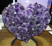 Huge Amethyst Crystal Cluster Heart Geode F/ Brazil Cathedral  Steel Stand