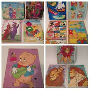 Lot Of 12 Kids Vintage Barney Lion King And Teletubbies Wood Puzzles Toddler