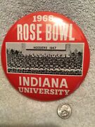 """1968 Rose Bowl Pinback Button W/photo Of 1967 Indiana Hoosiers Football Team 6"""""""