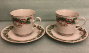 Sango China Noel Pattern 8401 Cup And Saucer 2 Set